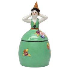 RARE Signed Noritake Figural Art Deco Lady in Floral Dress/Columbina Lady Hand-Painted Porcelain Cigarette Box or Trinket Jar w/ Lid