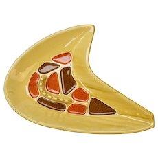 California Pottery Mid-Century Modern Atomic Boomerang Gold Ceramic Ashtray