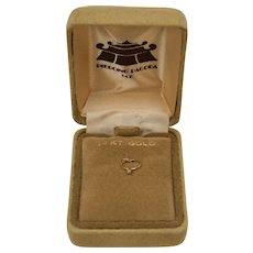 14K Gold Tiny Diamond Ring Charm in Original Velvet Box