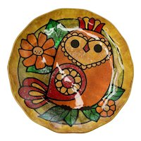 Mid-Century Modern Whimsical Owl Gold Foil Glass Plate or Trinket Dish~Very Good Condition
