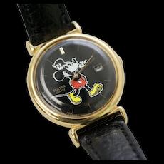 Pulsar Quartz Mickey Mouse Character Hands w/ Calendar Black Leather Wrist Watch