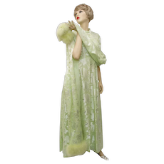 Circa 1960s Mint Green Brocade Lame Silver Marabou Fur Trim Full Length Maxi Evening Gown
