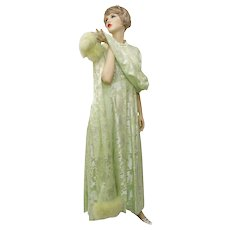 Circa 1960s Mint Green Brocade Lame Silver Marabou Fur Trim Full Length Maxi Evening Gown