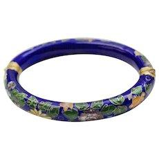 Cobalt Blue Cloisonne Enamel Flower Bangle Bracelet