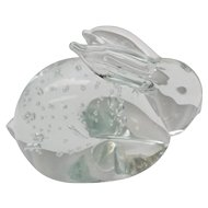 Handblown Art Glass Bunny Rabbit Controlled Bubbles Paperweight