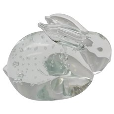 Handblown Art Glass Bunny Rabbit Controlled Bubbles Paperweight