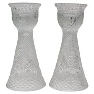 """Fostoria Glass For Avon """"Hearts and Diamonds"""" 7"""" Tall Pair of Reversible Candle Holders/Vases"""