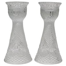 "Fostoria Glass For Avon ""Hearts and Diamonds"" 7"" Tall Pair of Reversible Candle Holders/Vases"