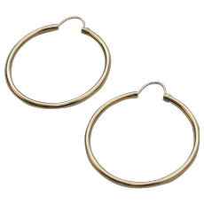 "14K Gold Classic 1"" Hoop Pierced Earrings"