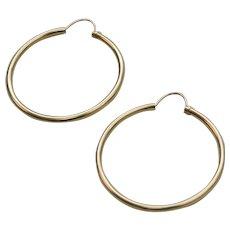 """14K Gold Classic 1"""" Hoop Pierced Earrings"""