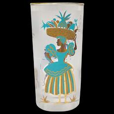 Mid-Century Modern Aqua Blue & Gold Caribbean Dancer & Carmen Miranda Style Chiquita Banana Girl Drinking Glass Tumbler