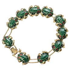 Cute Green Enamel Frog Slide Charm Double Slider Goldtone Bracelet