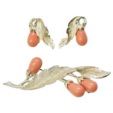 """Sarah Coventry Circa 1962 """"Bittersweet"""" Coral Pink Flower Brooch/Pin & Clip Earrings Set"""