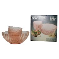 Arcoroc  Rosaline Pink Swirled Glass 7-piece Salad Bowl Set-New in Box-Made in France