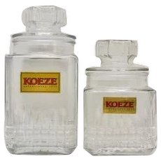 Set of 2 KOEZE Glass Candy Canister Jars w/Original Lids