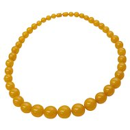 "21"" Butterscotch Baltic Amber Egg Yolk Graduated Round 18 mm Bead Necklace"