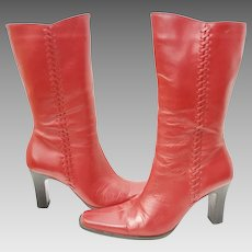 Paola Ruggeri Genuine Red Leather High Heel Boots