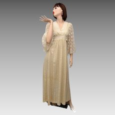 Circa 1970s Ecru Seersucker Fabric and Floral Lace Bell Sleeve Waist-Tie Maxi Dress