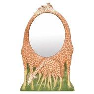Country Carver Al Pisano Gentle Giraffe Oval Mirror Wall Plaque