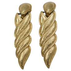Circa 1980s Long Hinged Textured Goldtone Clip Earrings