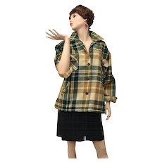 Circa 1960s L.L. Bean Designer Hunter Green, Tan & Beige Wool Plaid Outerwear Woman's Jacket