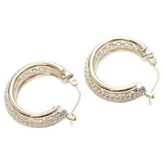 Signed 14K Gold Sterling Silver Mesh Hoop Pierced Earrings