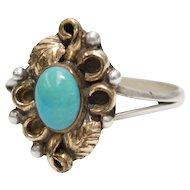 Black Hills Gold 12K Gold Leaves Petite Turquoise Sterling Silver Ring In Original Black Velvet Box