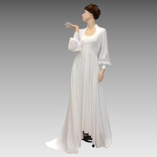 Circa 1970s Ivory White Crochet Applique Bodice, Empire Waist & Balloon Sleeve Full Length Bridal / Wedding Gown w/Train