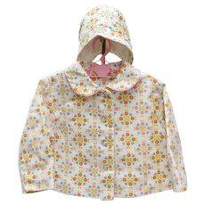 Circa 1950s Baby Girl 12mos. White, Pink, Orange Flowers Coat w/ Matching Hat