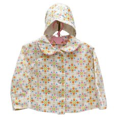 Circa 1950s Baby Girl 12mos. White, Pink, Orange Flowers Coat w/ Matching Hat
