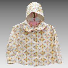 c1950s Baby Girl Pink & Orange Flower Print White Coat w/ Matching Hat (age 12 mos.)