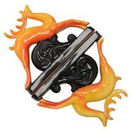 Set of 2 Signed Norleans Art Deco Style Gazelles Orange & Black Ceramic Sculpture Figurines