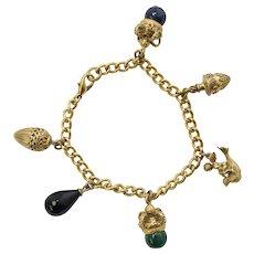 Heavy Victorian Inspired Green Malachite, Blue Lapis, Black Onyx Crown & Cupid Riding a Bird Charm Bracelet