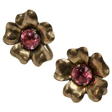 Sterling Silver Gold Wash Pink Glass Rhinestone Flower Screwback Earrings