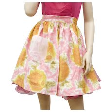 Pink & Orange Flower Pattern Fabric Waist-Tie Kitchen Apron