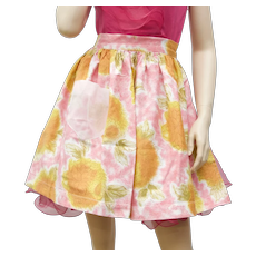 Pink & Orange Flower Pattern Fabric Waist-Tie Kitchen Apron