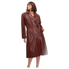 Etienne Aigner Designer Full Length Signature Brass Emblem Oxblood Belted Leather Coat