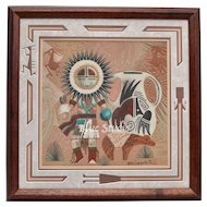 Navajo Keith Silversmith Signed Sunface Kachina w/ Pottery Sand Painting in Original Wood Frame