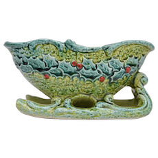 Circa 1950s Napcoware Bitossi Style Blue & Green Ceramic Christmas Holly Sleigh Planter or Candy Dish