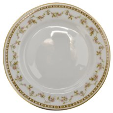 Set of 4 Theodore Haviland Limoges France Set of 4 Pink Roses Salad Plates w/ Gold Trim