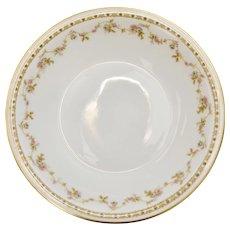 Set of 12 Theodore Haviland Limoges France Pink Roses Soup or Cereal Bowls w/ Gold Trim