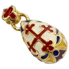 Heavy Enamel Fancy Red Cross Faberge Style Egg Pendant