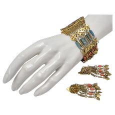 Art Deco Era Turkish Silver Gold Wash Turquoise & Coral Filigree Bracelet w/ Matching Dangle Clip Earrings