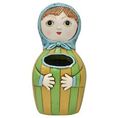 Circa 1960s Pride Creations Babushka String Holder