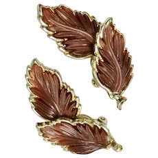 """Large 2"""" Copper Brown Thermoset Autumn Leaf Goldtone Clip Earrings"""