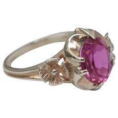 Russian Art Deco Era Sterling Silver Raspberry Deep Pink Sapphire Ring