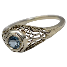 Art Deco 14K White Gold Filigree Azure Blue Topaz Stone Ring