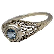 Art Deco 14K White Gold Filigree Azure Blue Topaz Stone Ring