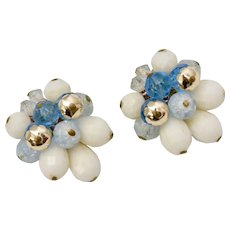 Signed West Germany Large Blue, White, Silver Bauble Bead Clip Earrings