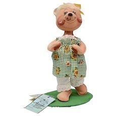 "Circa 1996 Annalee Country Girl Bear Doll 10"" Tall Soft Sculpture"